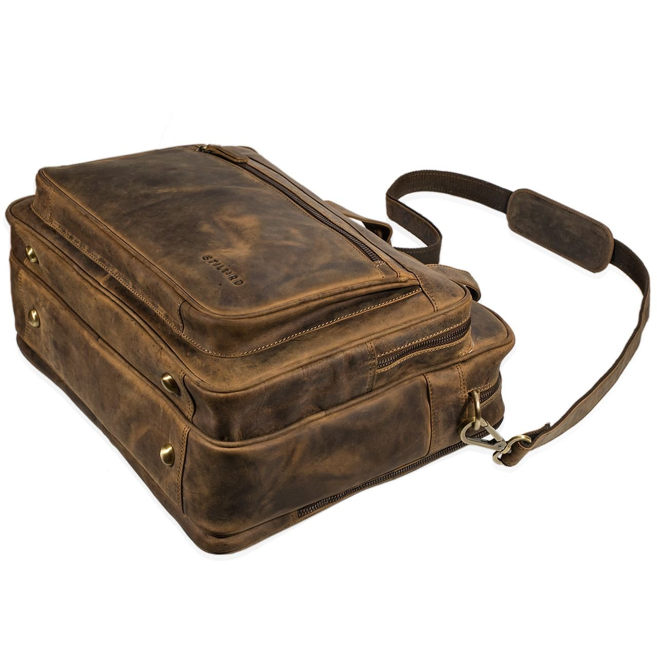 744d845eb2 STILORD 'Walt' Borsa da lavoro uomo donna in pelle vintage Grande porta  documenti da ingrandisci