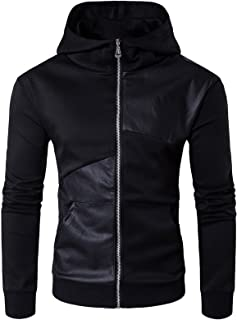 Elonglin Men Jacket Hooded Faux Leather Spliced Long Sleeve Blouson Black EL.AW-Y925