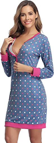 TALLA XL. Hawiton Camison Lactancia Hospital Pijama Lactancia Manga Larga Camisones Embarazada Algodón Ropa para Dormir Premamá Otoño Invierno
