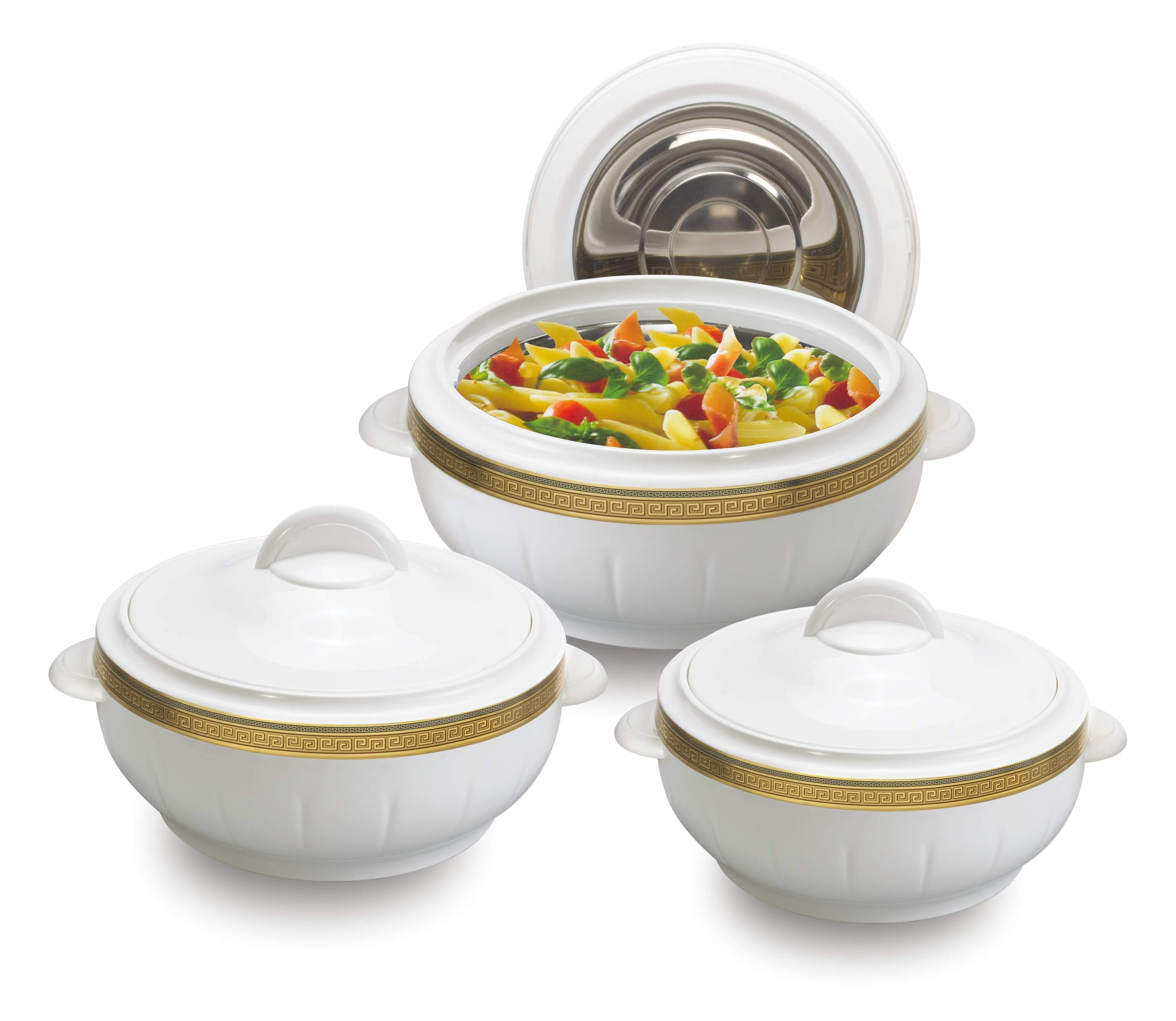 Kitchen Cocina - 3pcs Hot Pot Set Casserole Set - 3 Sizes: 1.6L + 2.5L + 3.5L - Stainless Steel Inside - Keeps Steaming Hot - Durable - Easy to Clean - White