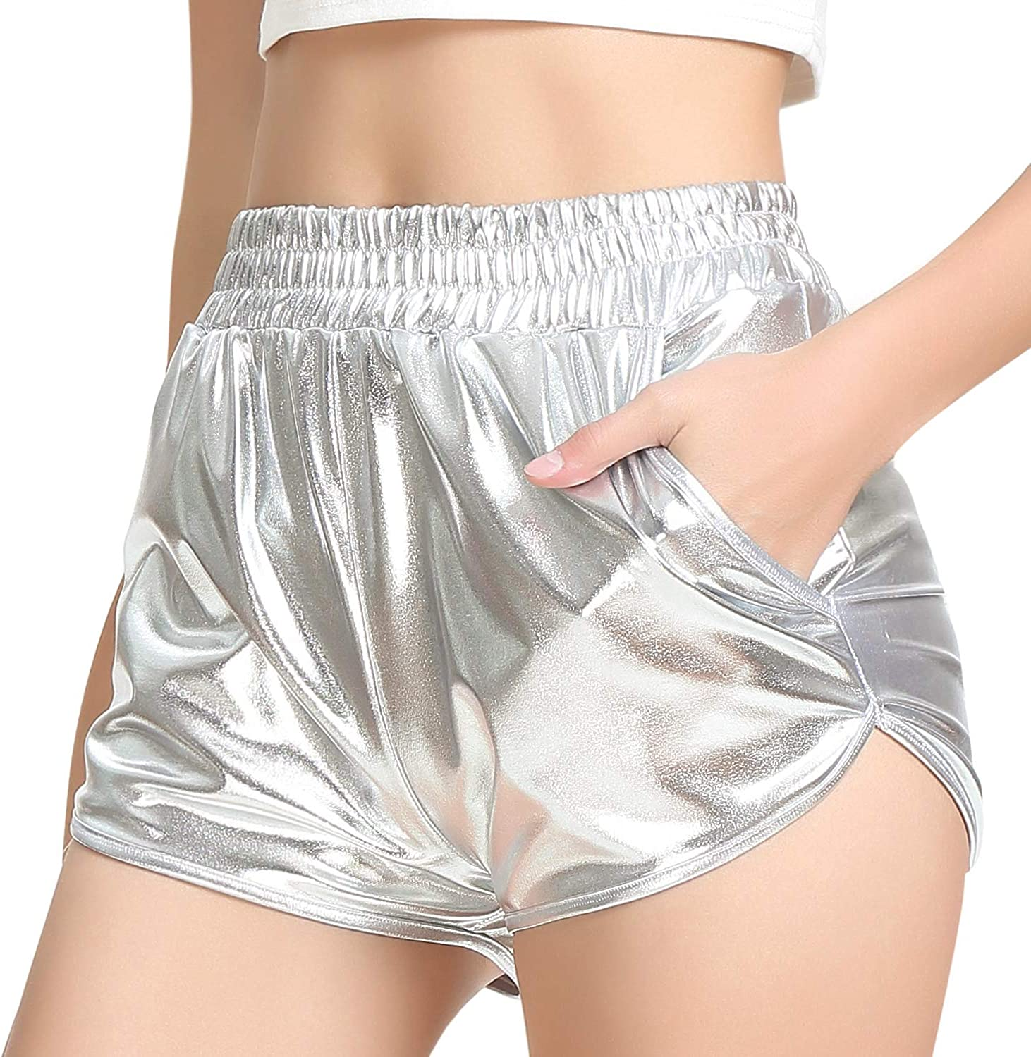 Perfashion Girls Metallic Shorts Sparkly Shiny Hot Pants Gold//Silver//Pink Outfit