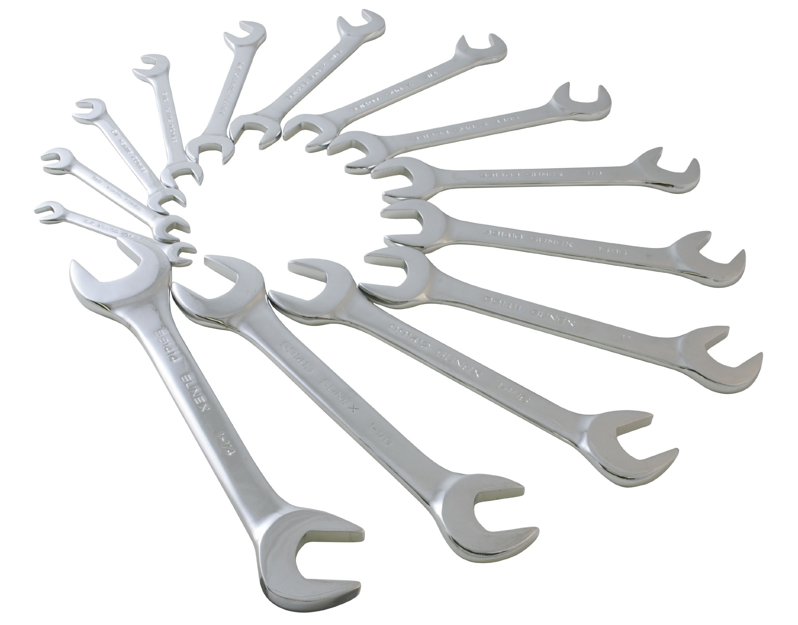 Sunex 9914 SAE Angled Wrench Set, 3/8-Inch - 1-1/4-Inch, 14-Piece