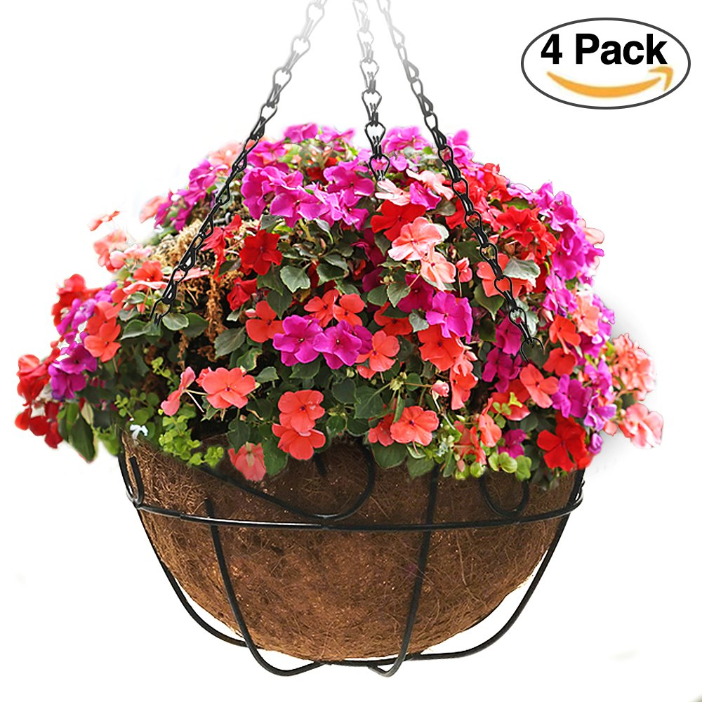 4 Pack Metal Hanging Planter Basket