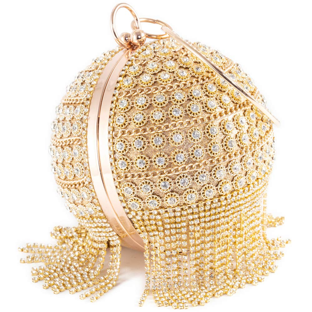 Womans Round Ball Clutch Handbag Dazzling Full Rhinestone Tassles Ring Handle Purse Evening Bag (B)