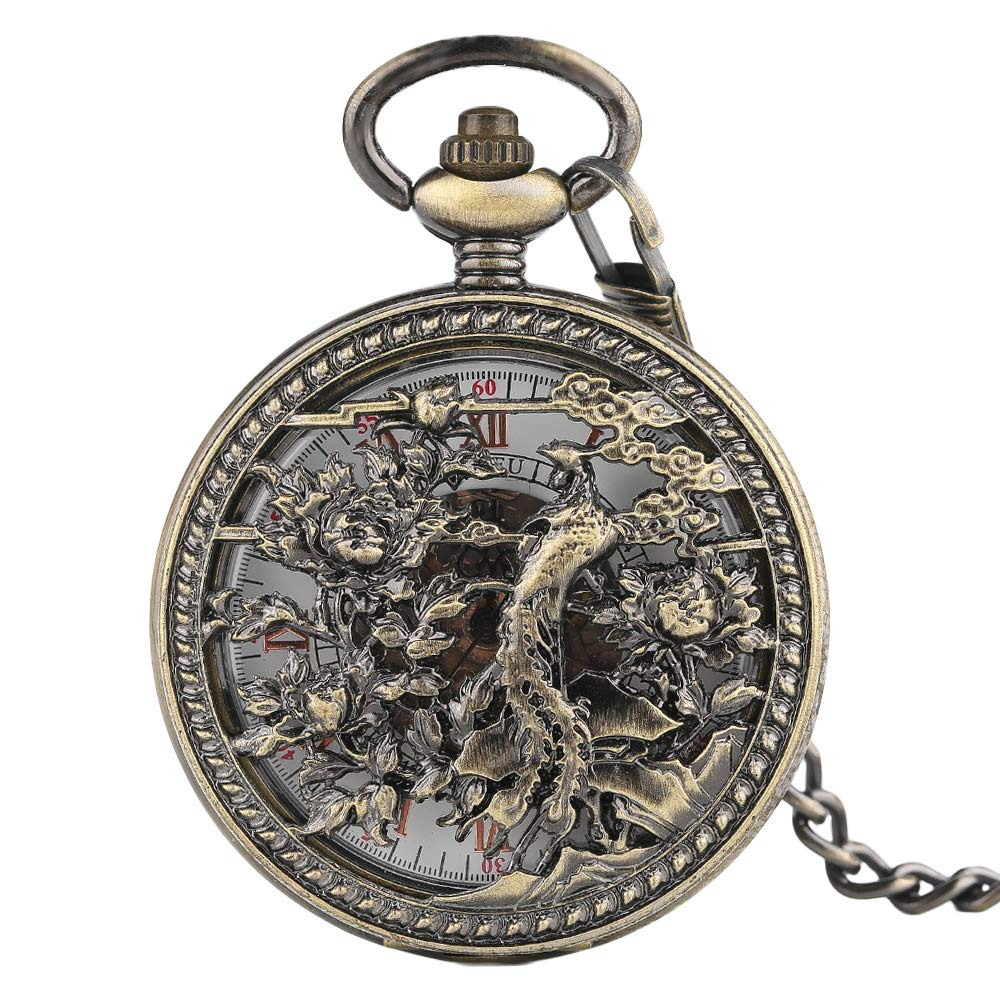 Vintage Pocket Watch, Phoenix Mechanical Pocket Watch, Retro Style Skeleton Dial Gifts for Men by mygardens