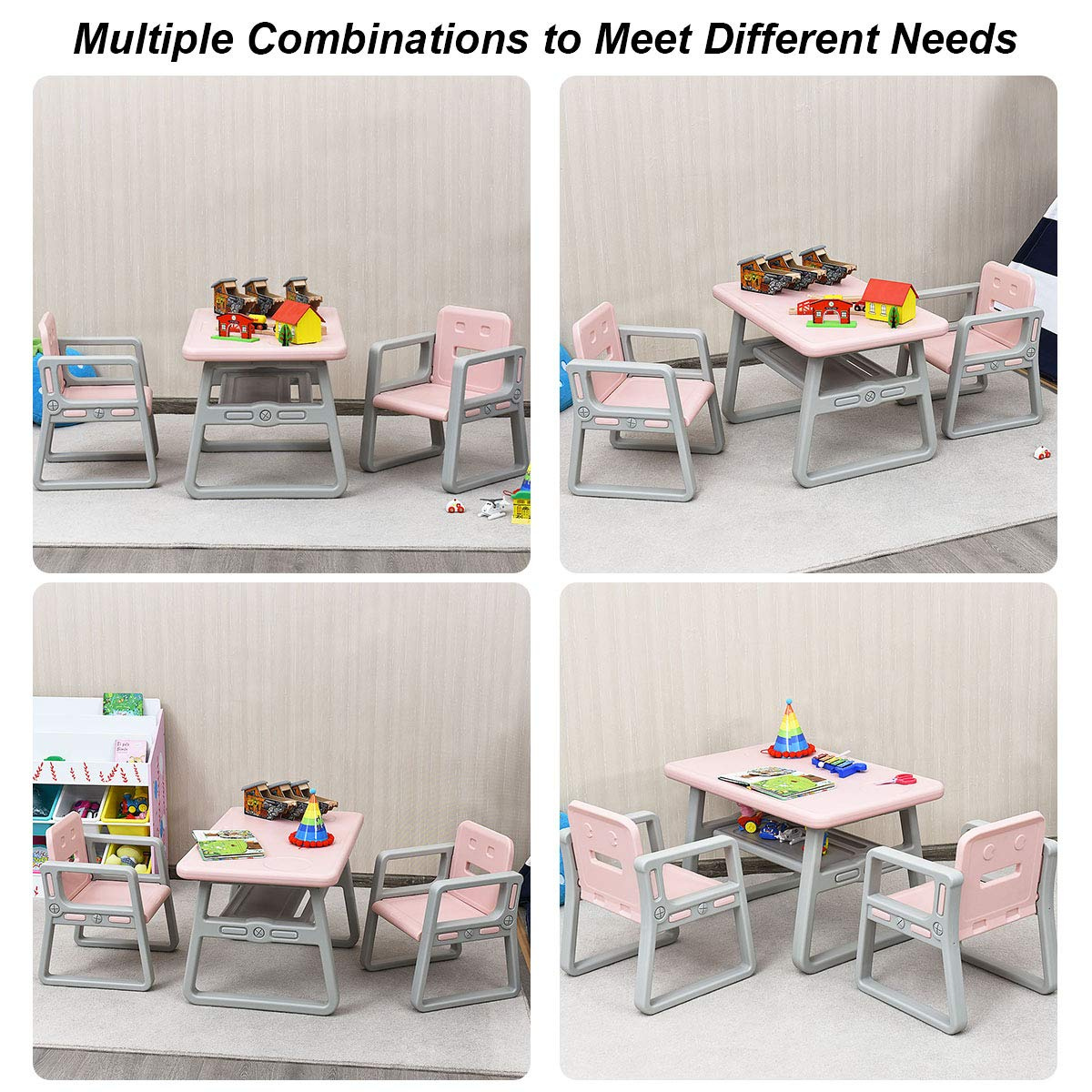 Costzon 3 Piece Kids Table and 2 Chairs Set, Learning Activity Play Table, Baby Dining Table, Children Desk Chair for 1-3 Years, Kids Furniture Set (Pink) by Costzon (Image #8)