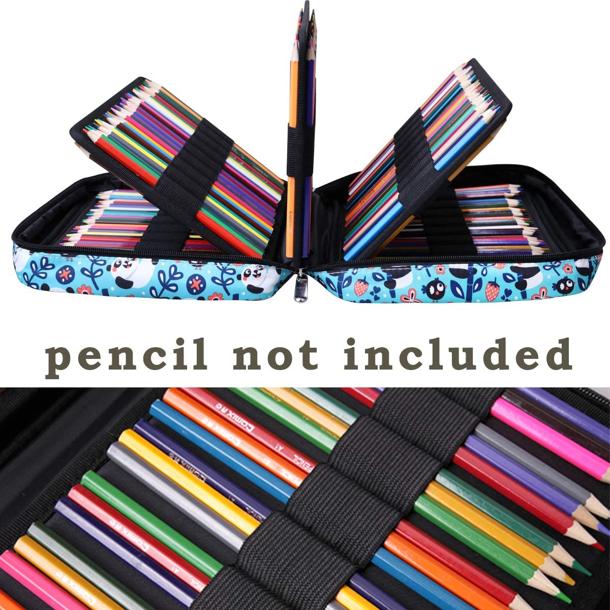 Highlighters Great Gift for Students Painter Writers 220 Colored Pencil Case Multi Pencil Holder Large Capacity Pen Organizer Bag for Watercolor Pencils Brushes Markers,Gel Pens Blue