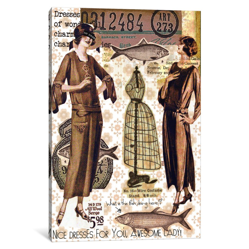 iCanvasART 3 Piece Vintage Fashion Canvas Print #2 Canvas Print by Luz Graphics 60 x 40 x 0.75-Inch