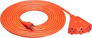 AmazonBasics 16/3 Outdoor Extension Cord with 3 Outlets, Orange, 20 Foot