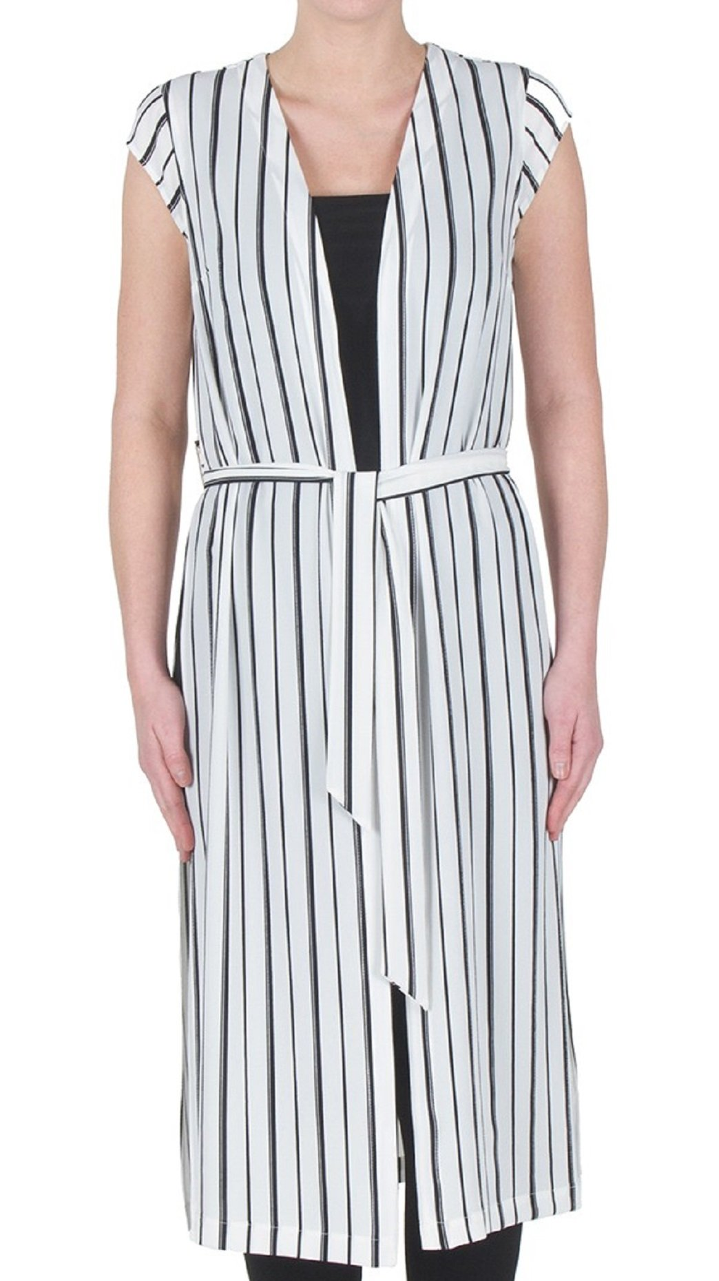 Joseph Ribkoff Cap Sleeve Belted and Striped Cover-Up Vest Style 172922 Size 4 by Joseph Ribkoff