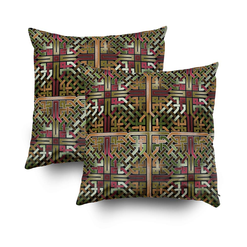 TOMWISH 2 Packs Hidden Zippered Pillowcase earthtone and Gold Celtic Knot sqare Tile 175 16X16Inch,Decorative Throw Custom Cotton Pillow Case Cushion Cover for Home