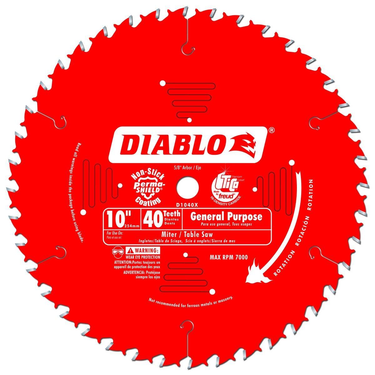 5 Hojas de Sierra DIABLO D1040X 10 x 40T ATB Propósito gener