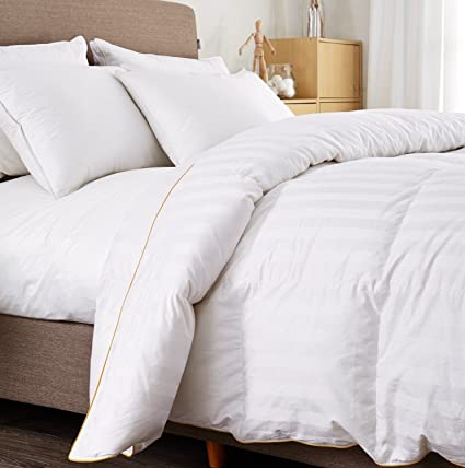PUREDOWN Goose Down Comforter, 600 Fill Power, Cotton Shell, 500 TC , Stripe, Full/Queen, White