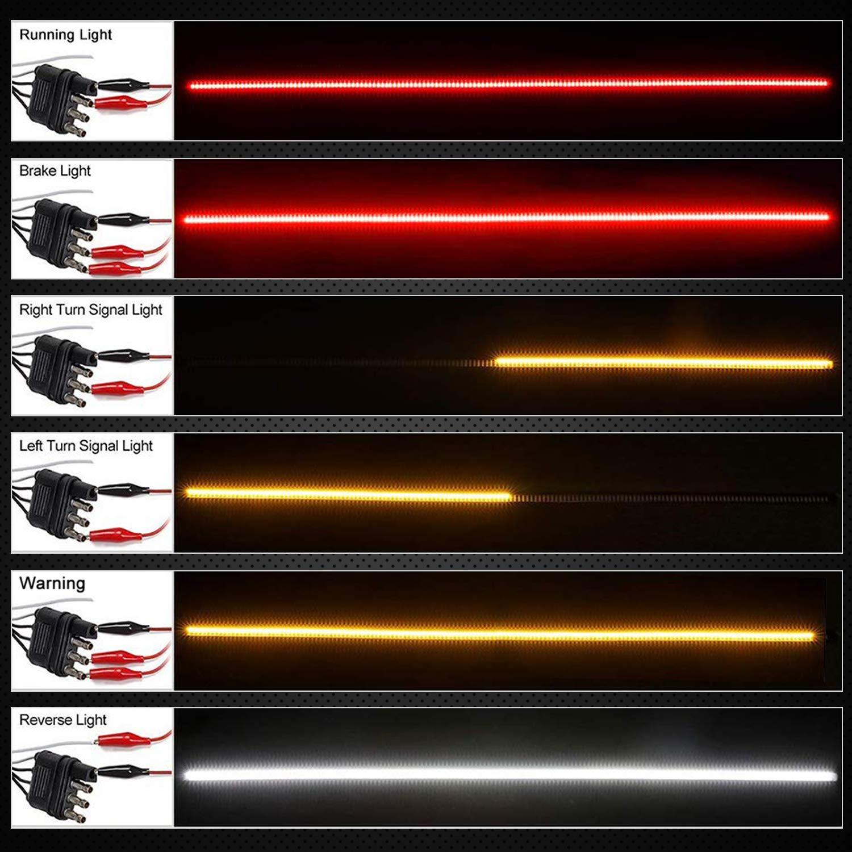 AIWA 60Luz Trasera de Trolley Triple Barra de Luces de operaci/ón /ámbar Blanco Rojo Corriente de Freno Luz de Cola Tiras de Camiones Barra de Luces traseras LED