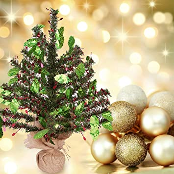 Joy Leo Tabletop Holly Leaf Berry Sequin Green Tinsel Christmas Tree Easy To Assemble For Small Spaces Apartment Fireplace Party Home