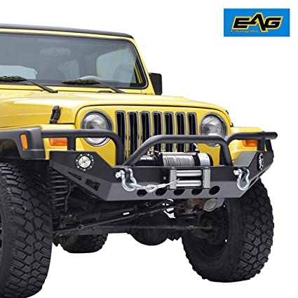 Great EAG 97 06 Jeep Wrangler TJ Front Bumper With LED Lights U0026 Winch Plate