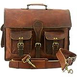 复古手工皮革斜挎包 适用于笔记本电脑公文包 *佳电脑挎包 学校做旧包