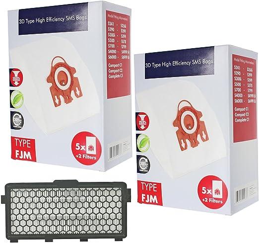 SPARES2GO 3D FJM Hyclean bolsas tipo de + filtro para aspiradoras Miele Compact C2 alergia EcoLine