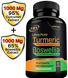Turmeric Boswellia Extract Supplement – Strong Natural Pain Relief & Joint Support Pills 2000 mg – Extra Strength Anti-Inflammatory Boswellia Serrata with Turmeric Curcumin Powder 90 Capsules
