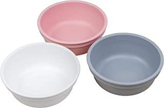 product image for Re-Play Made in USA 3pk 12 oz. Bowls in White, Grey and Blush | Made from Eco Friendly Heavyweight Recycled Milk Jugs and Polypropylene - Virtually Indestructible (Modern Pink)