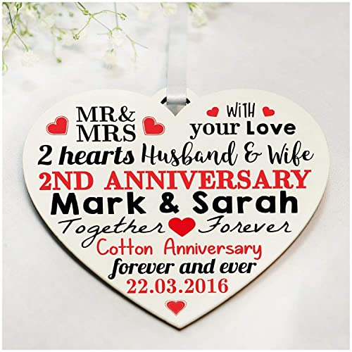 2nd Wedding Anniversary Gifts Personalised Printed Wooden Heart Second Anniversary Presents For Cotton Anniversary Perfect For Husband Wife Or Couples Any Anniversary Amazon Co Uk Handmade