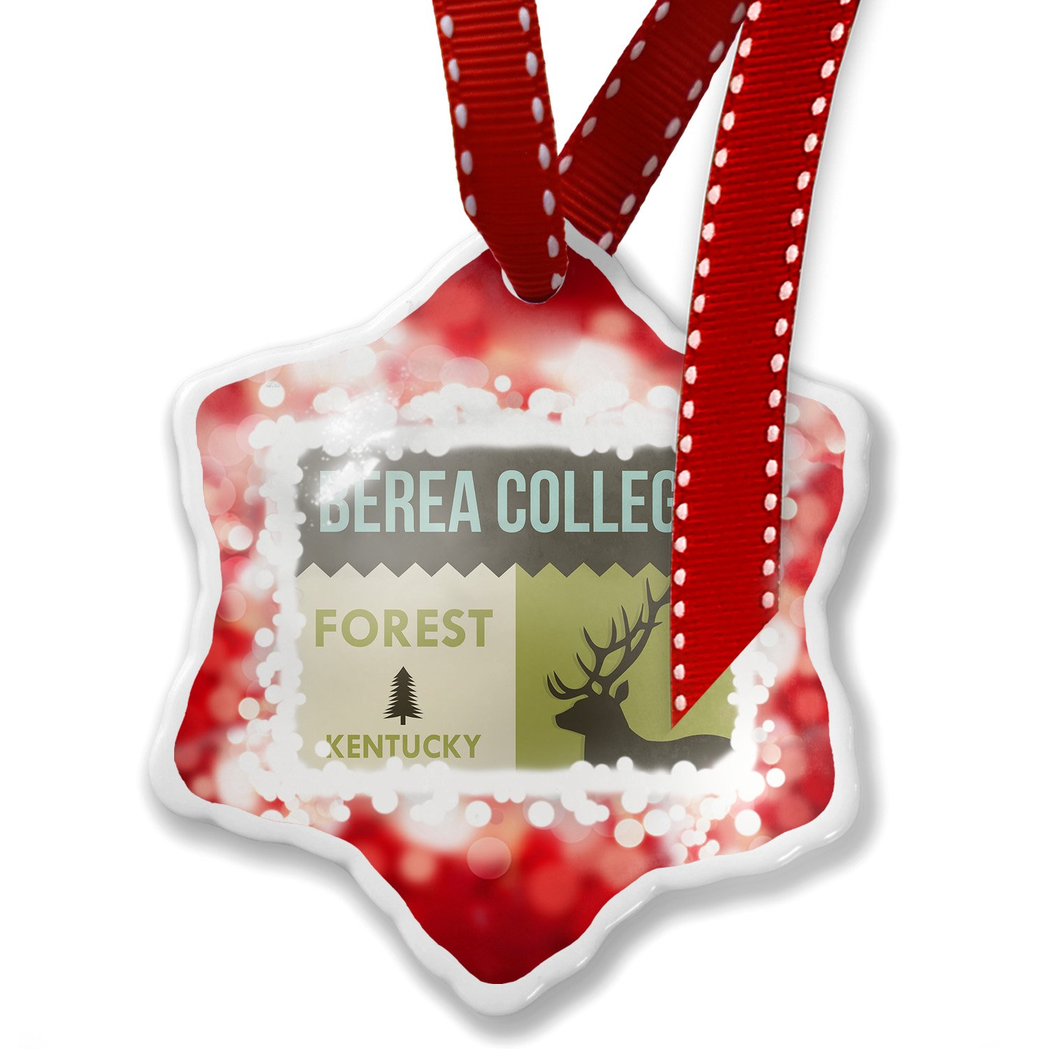 Christmas Ornament National US Forest Berea College Forest, red - Neonblond