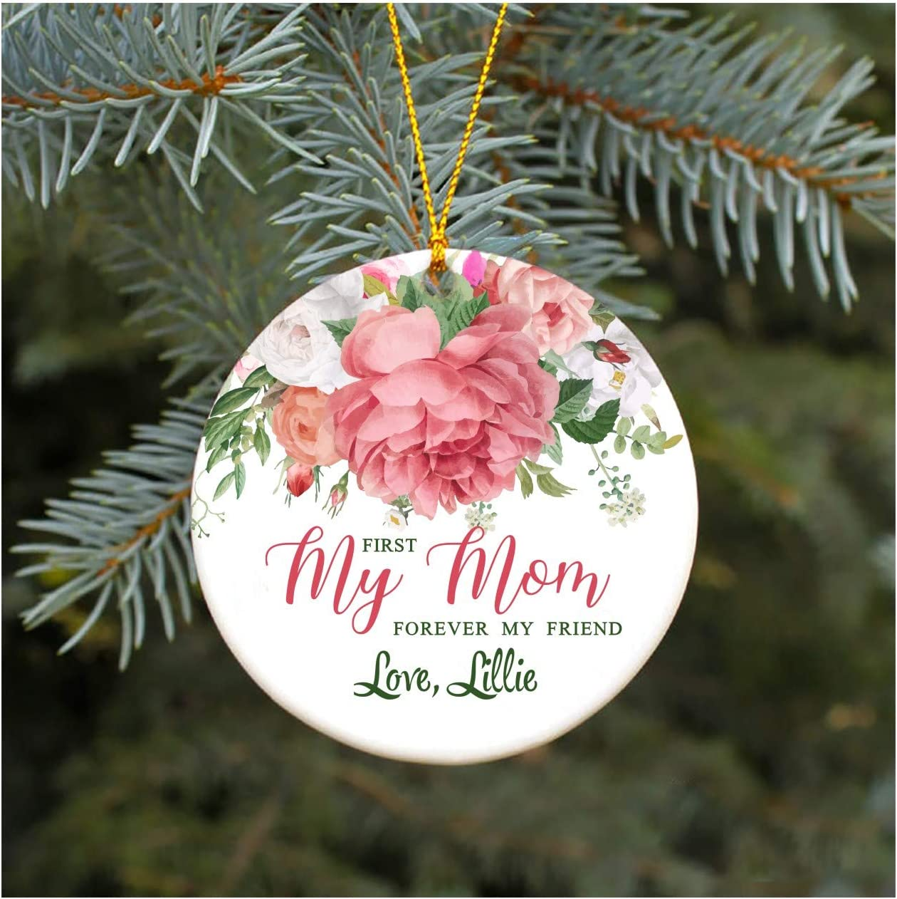 Amazon Com Christmas Ornament Tree 2020 First My Mom Forever My Friend Love Lillie Xmas Gift Ideas For Mom From Daughter Mother In Law Gifts Present 3 Flat Circle Mdf Plastic Kitchen