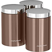 Morphy Richards Accents Kitchen Storage Canisters, Stainless Steel, Copper, Set of 3