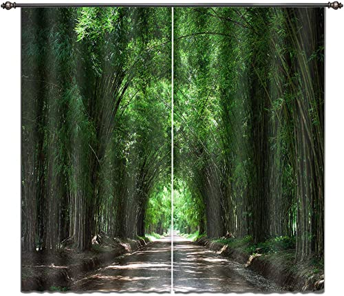 LB Bamboo Forest Window Curtains for Bedroom Living Room,Road is Lined with Bamboo Groves Teen Kids Room Darkening Blackout Curtain Drapes 2 Panels,28 by 65 inch Length