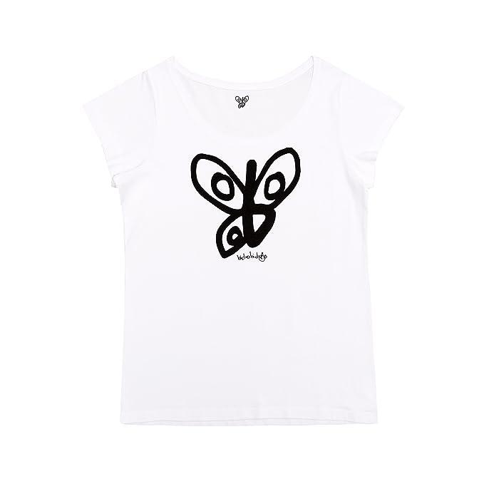 BICHOBICHEJO Camiseta Ecológica Mujer Logo, Blanco, S: Amazon.es: Ropa y accesorios