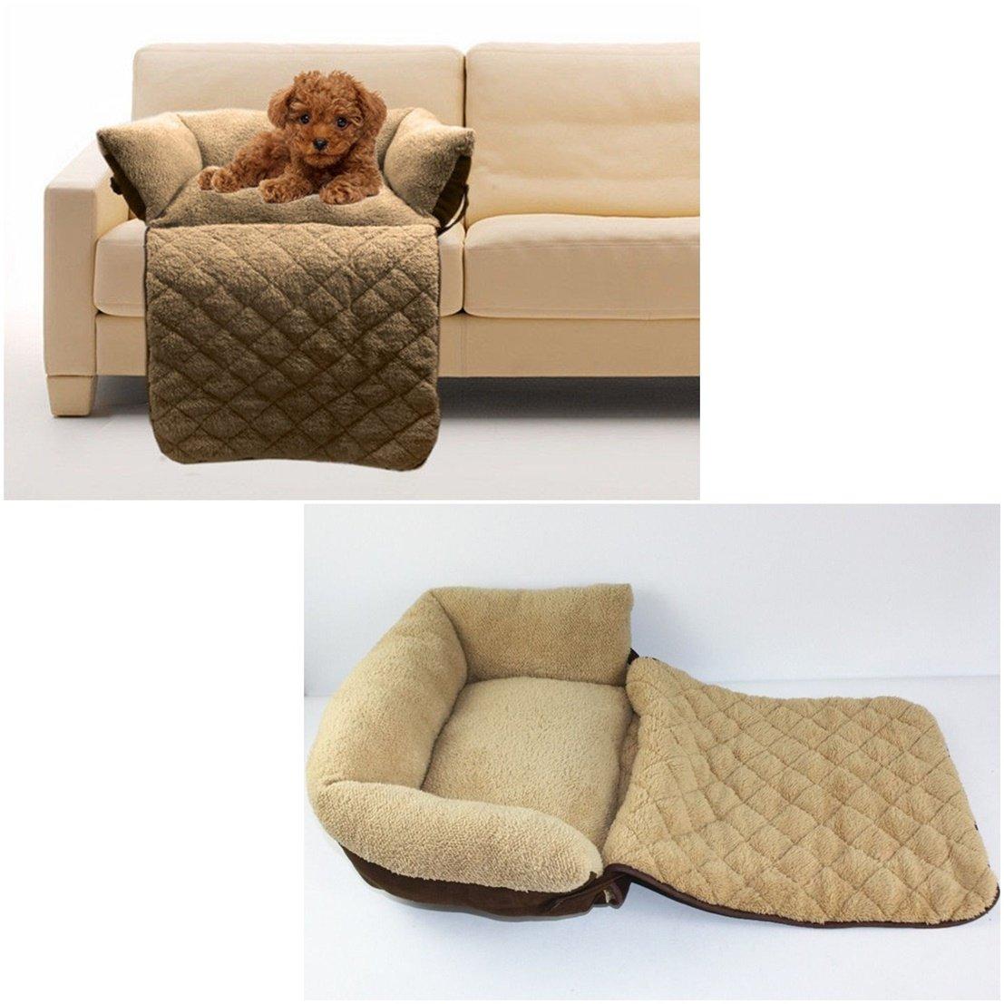 1Pc Luxurious Popular Pet Sofa Bed Size L Suede Fabric Cat Plush Short Cushion Color Brown