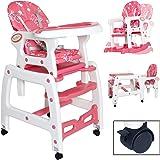 seelux beweglicher 3en 1multi Chaise haute pour enfant avec fonction balançoire, roues avec freins, ajustable (Rose)