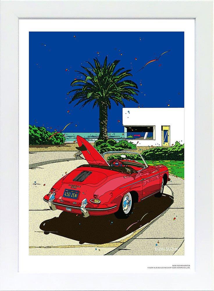 鈴木英人オリジナル ポスター「ローズレッド ロードスター」 フレーム 付き B06XXQ5DT9