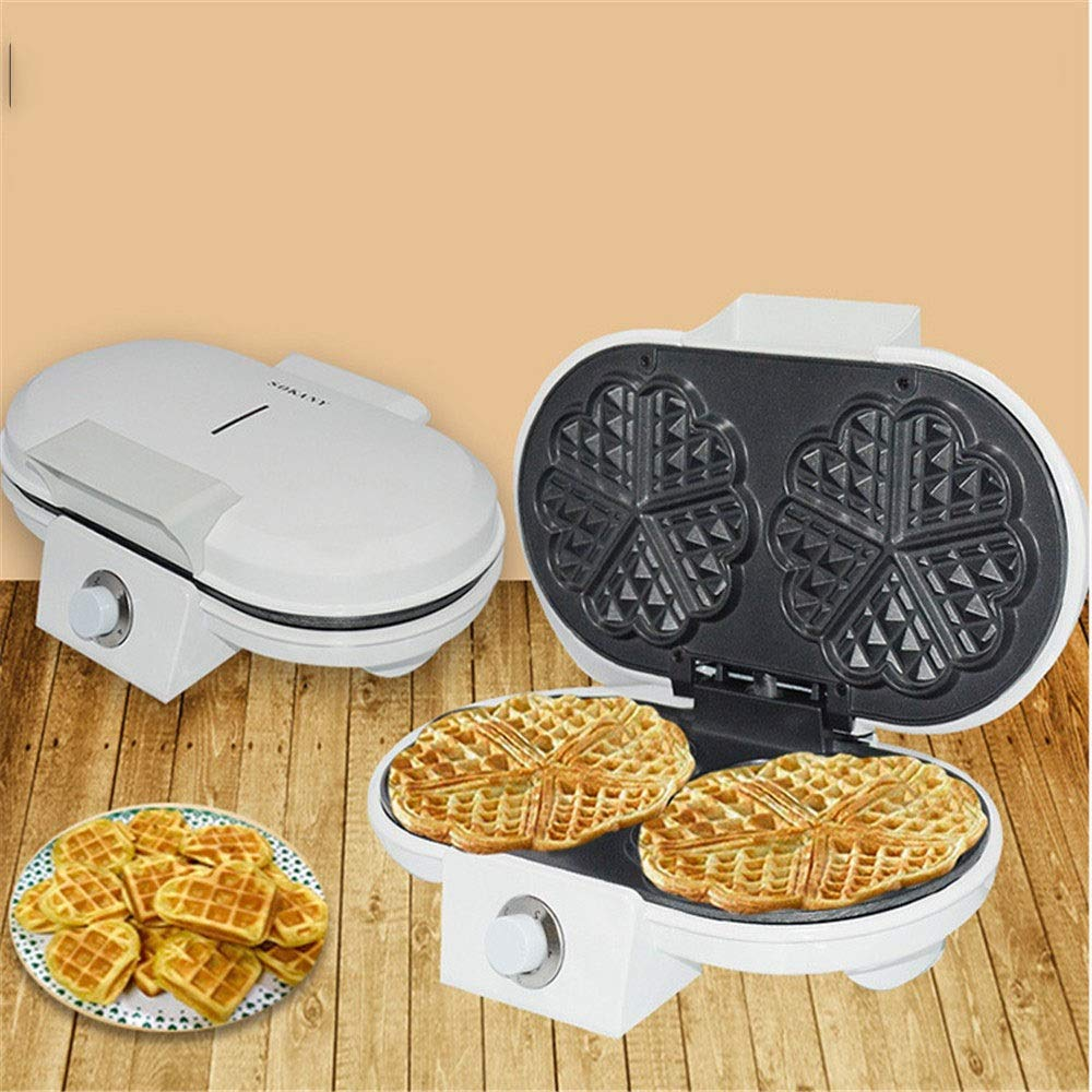 Crepe Maker 1200W Electric Waffle Maker - Home Waffle Making Machine Makes 5 Heart Shaped Waffles Electric Non-Stick (Color : White, Size : 29x19x9cm) by DEPRQ