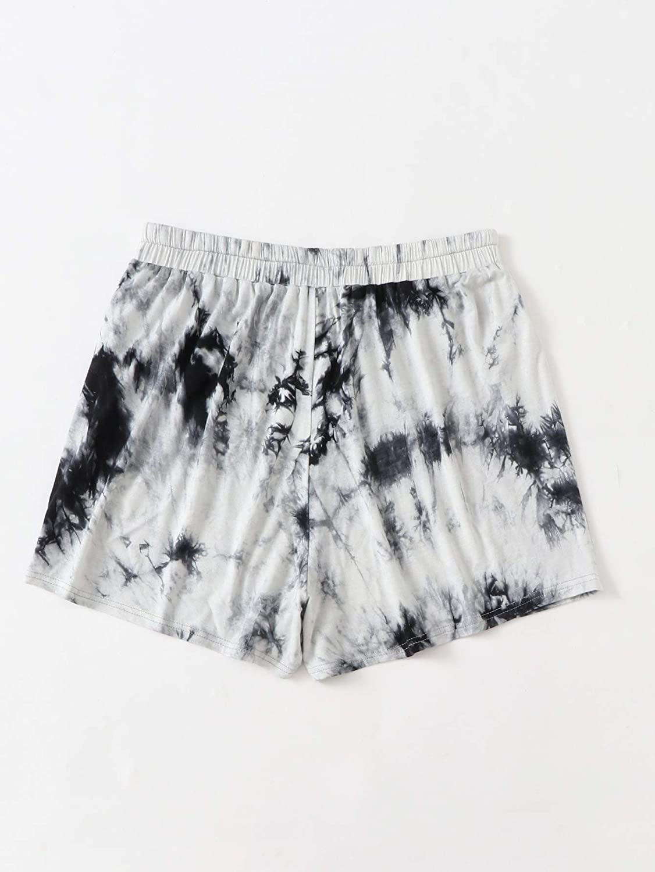 Milumia Womens Plus Size Athletic Shorts Tie Dye Elastic Waist Workout Sport Yoga Shorts A-Black and White 4XL