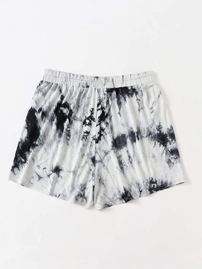 Milumia Womens Plus Size Athletic Shorts Tie Dye Elastic Waist Workout Sport Yoga Shorts A-Black and White 4XL