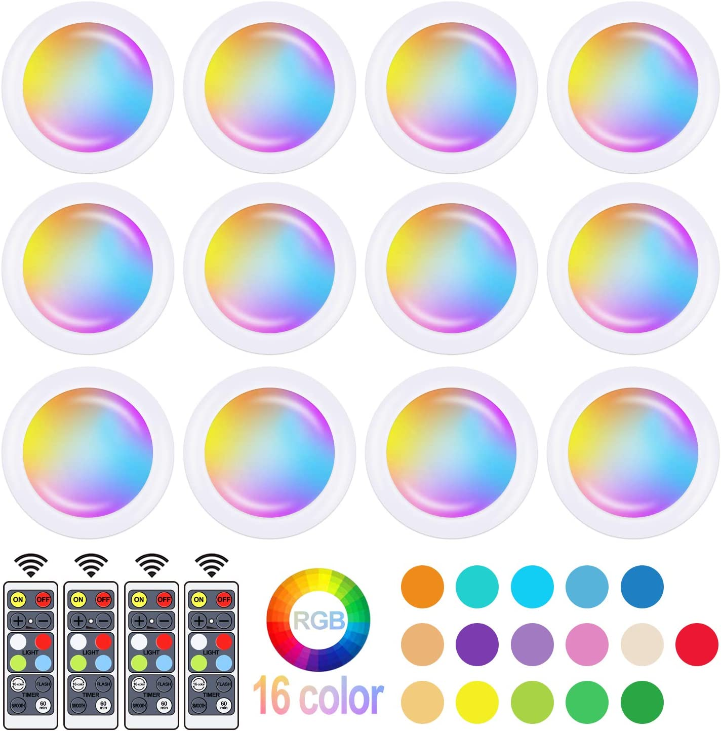 6 Pack LED Closet Lights Elfeland RGB Puck Lights 16 Colors 3 Modes Fairy Lights Wireless Under Cabinet Lighting Battery Powered Night Lights with Remote Control Dimmer /& Timing Function