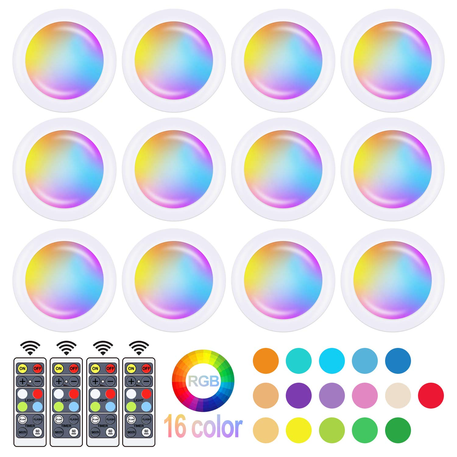 Wireless Color Changing LED Puck Light 12 Pack LED Under Cabinet Lighting Closet Light Battery Powered Night Lights with Remote Control Dimmer & Timing Function