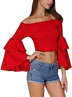 d790af8aa55 Hibluco Women's Off Shoulder Flare Sleeve Elastic Pullover Crop Top ...