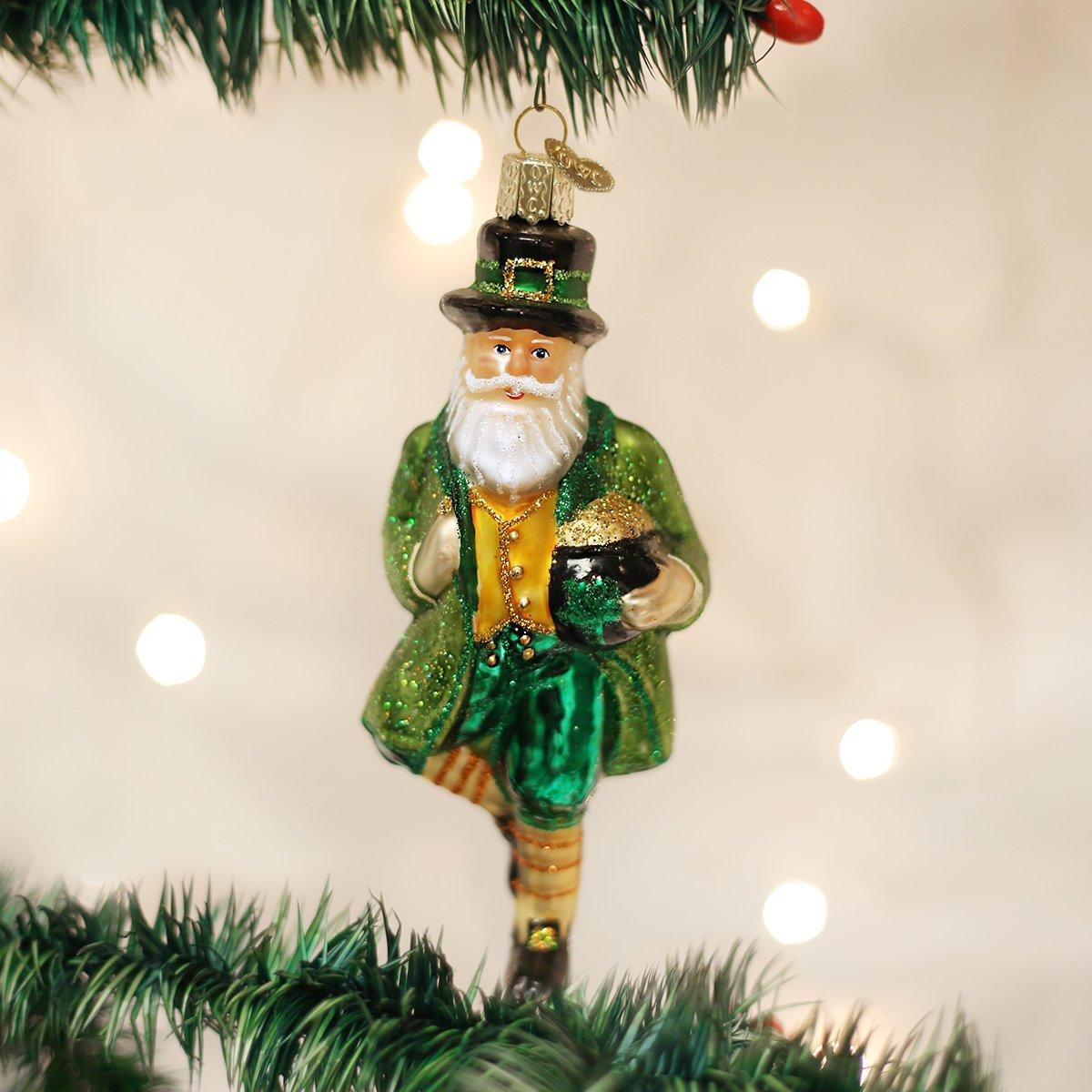 Amazon.com: Old World Christmas Irish Santa Glass Blown Ornament ...
