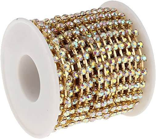 FLAMEER 10 Yards SS6-SS16 Clear Crystal AB Strass Chiudi Coppa Catena String Trim Craft Argento