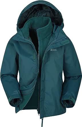 Mountain Warehouse Fell Kids 3 in 1 Jacket - Water Resistant Triclimate Rain Jacket, Detachable Inner Jacket, Packaway Hood Kids Coat, for Winter Walking, Hiking