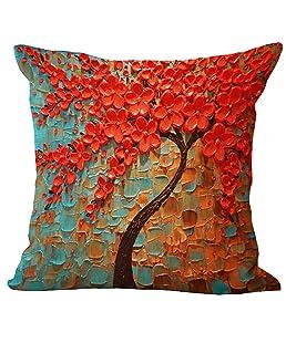 Zentto Kissenbezug Dreidimensionales Ölgemälde Bedruckter Kissenbezug Baum Blumen Kissenbezug 45 * 45 (C)