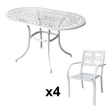 Lazy Susan - Table Ovale 136 x 81 cm Elise et 4 chaises de Jardin ...