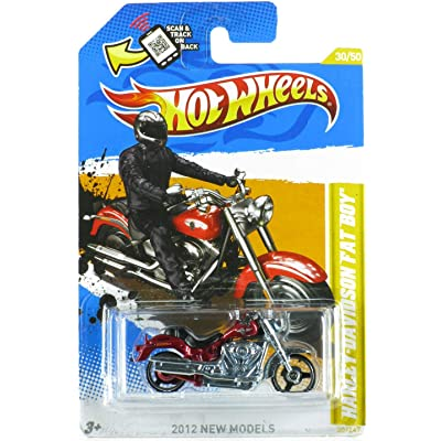 Hot Wheels 2012 New Models #30/50 Harley Davidson Fat Boy Red Variant: Toys & Games