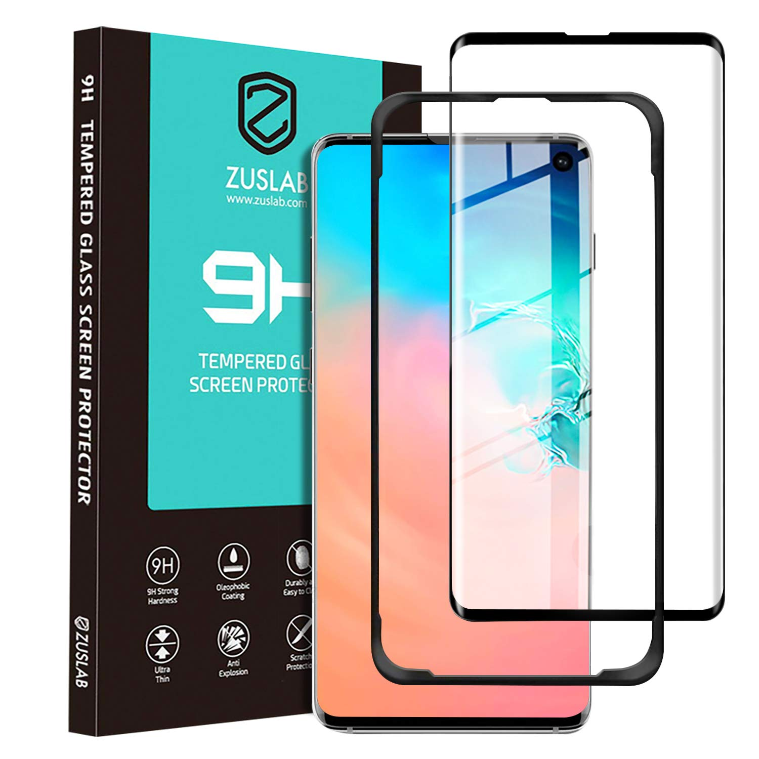 Zuslab Galaxy S10 Screen Protector Tempered Glass [Sensitive Fingerpirnt Recognition] [Easy Bubble-Free Installation with Tool] ...