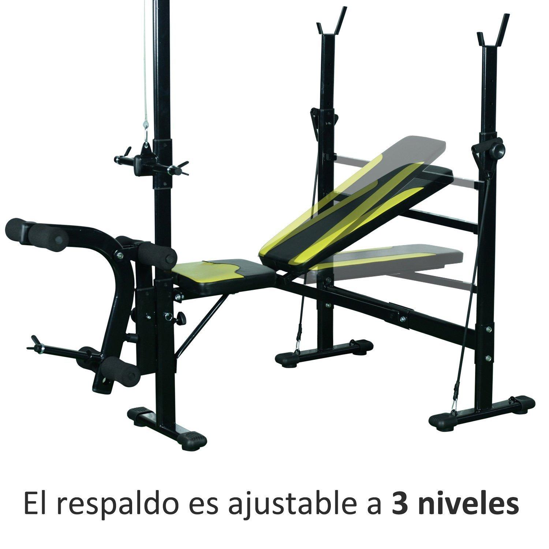 HOMCOM Banco de Pesas Ejercicios de Musculación 175x110x202cm ...