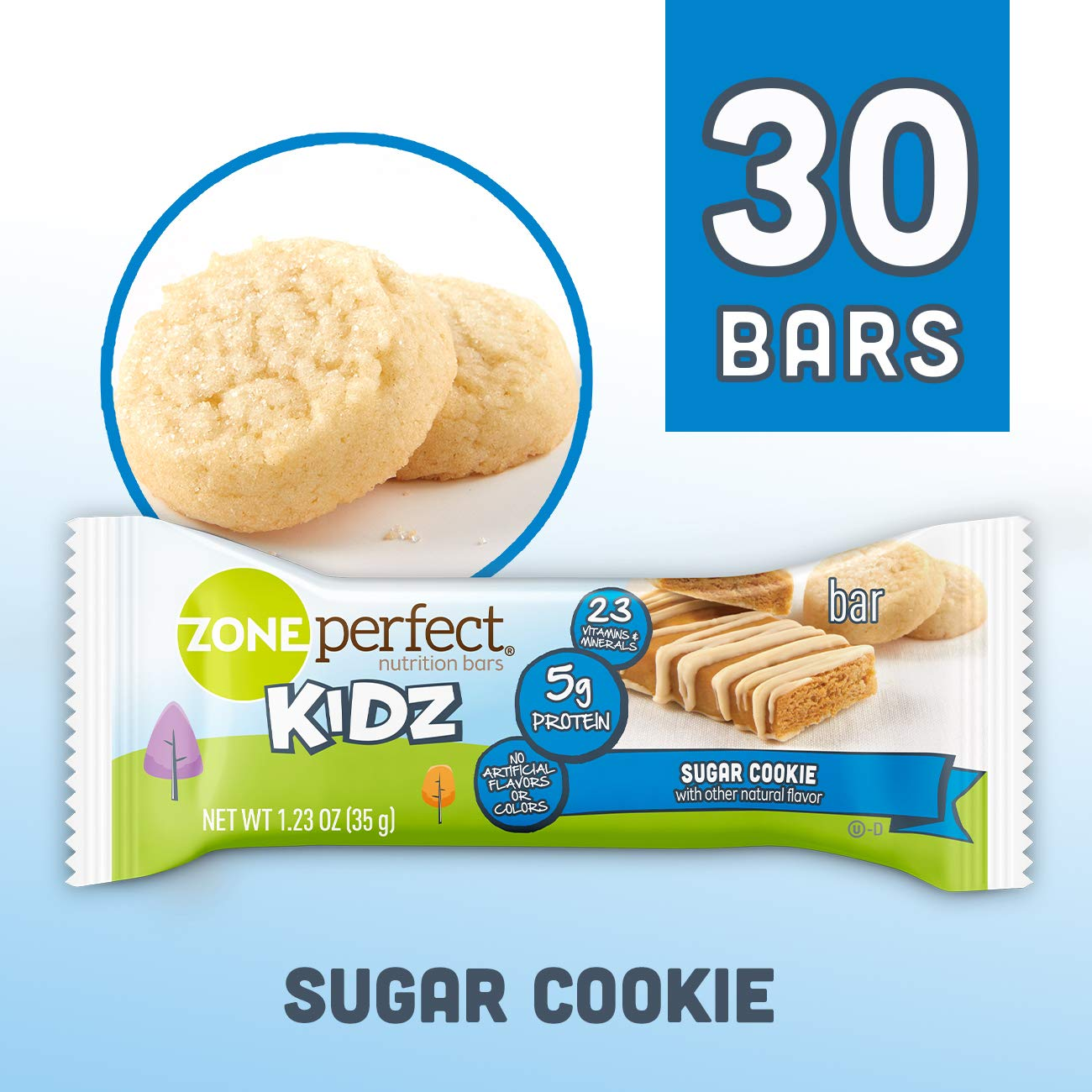 ZonePerfect Kidz Nutrition Bars, No Artificial Flavors or Colors, Sugar Cookie