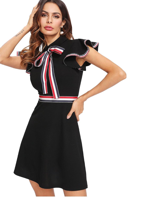 aeee7ab319e Verdusa Women's Tie Neck Striped Trim Flutter Short Sleeve Dress Black XS  at Amazon Women's Clothing store: