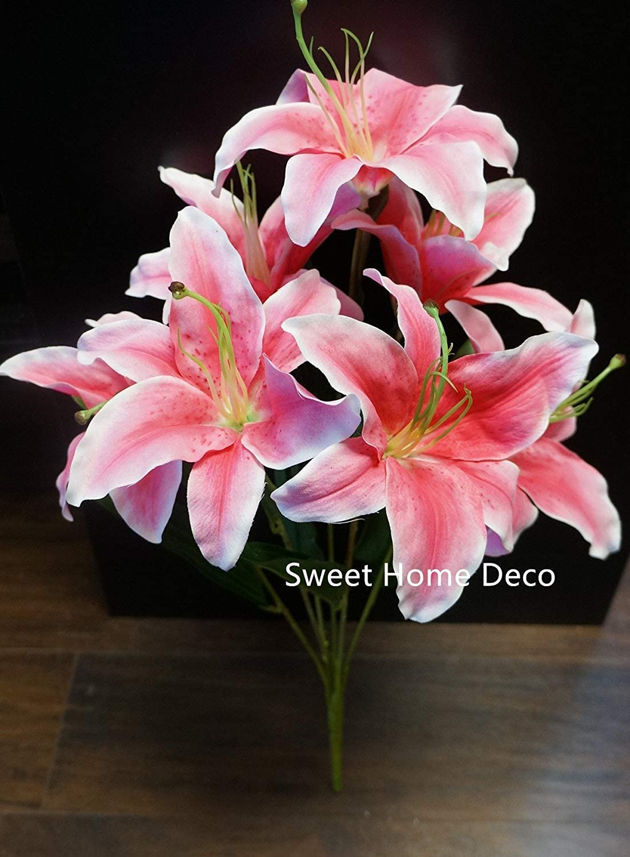 Amazon Com Sweet Home Deco 22 Silk Stargazer Lily Artificial